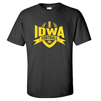University of Iowa Hawkeyes Football Rush Short Sleeve T Shirt - Black