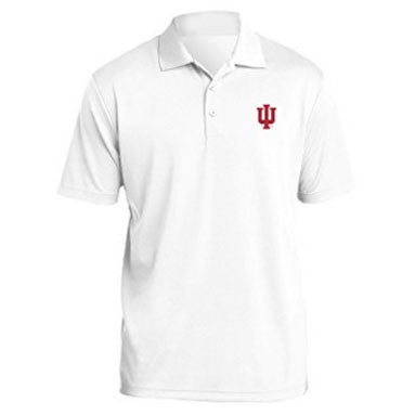 Indiana University Hoosiers Trident Left Chest Embroidered Polo -White