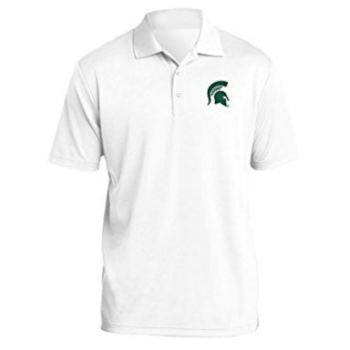 NCAA Primary Logo Left Chest Polo Michigan State - White