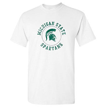 Michigan State University Spartans Distressed Circle Logo Short Sleeve T Shirt - White