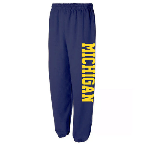 Side Print Basic Block University of Michigan Gildan Heavy Blend Sweatpants - Navy