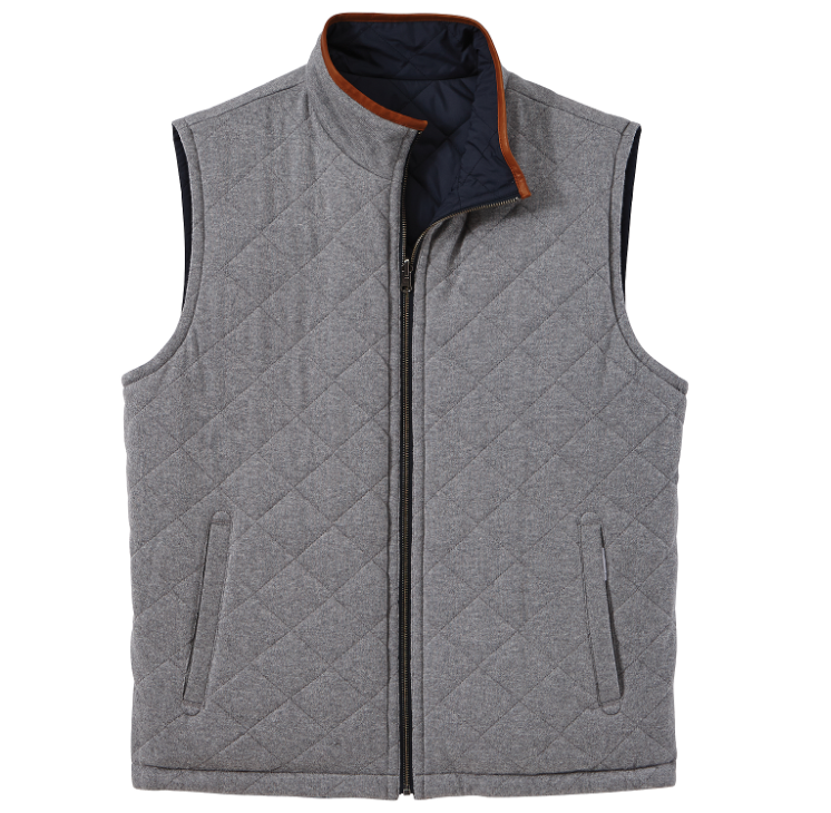 Bo Sig Brooks Brothers Reversible Quilted Vest - Navy/Grey ... : quilted vest navy - Adamdwight.com