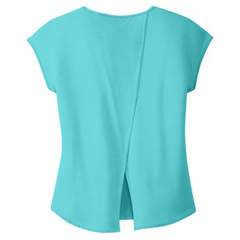 Carolina In My Mind Drapey Cross Back Tee - Aqua Ice