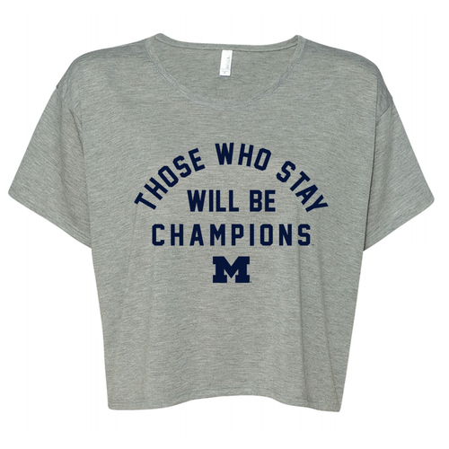 Bo Schembechler Those Who Stay Arch Block M Womens Boxy Tee - Athletic Heather