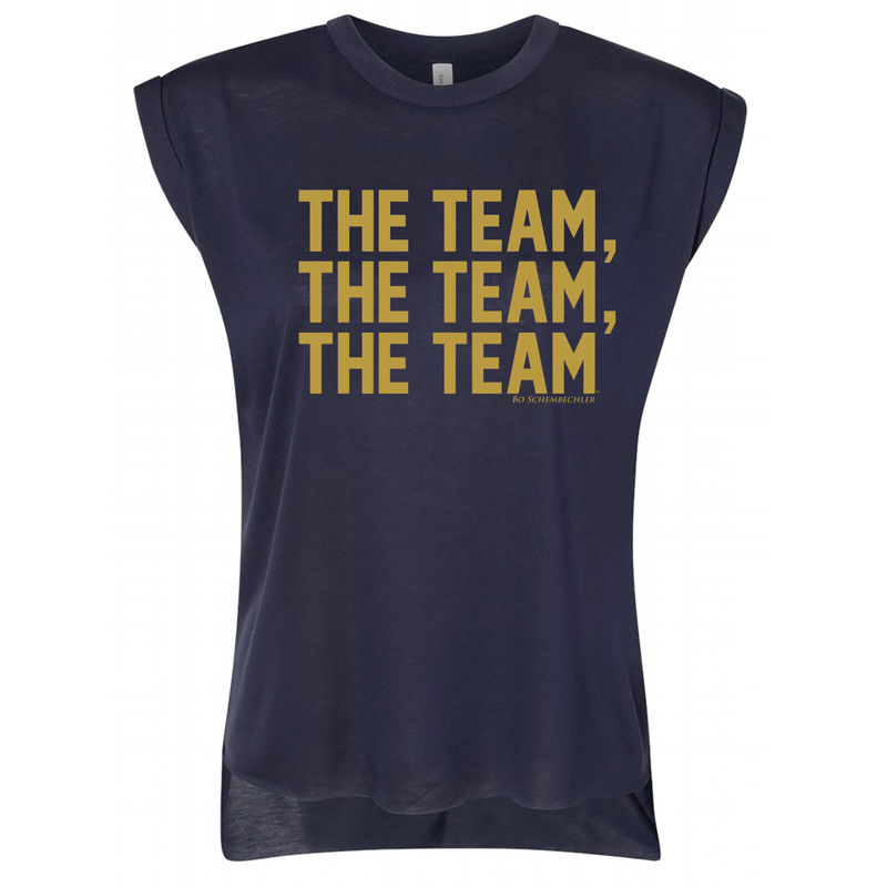 Bo Schembechler The Team Gold Foil Womens Roll Cuff Muscle Tee - Midnight