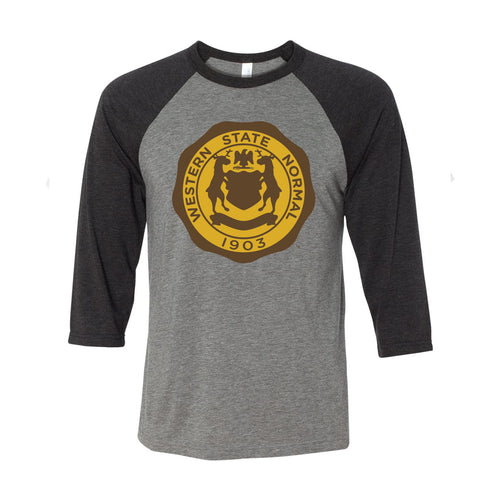 Western Michigan Vintage Seal Raglan - Grey/Charcoal Black