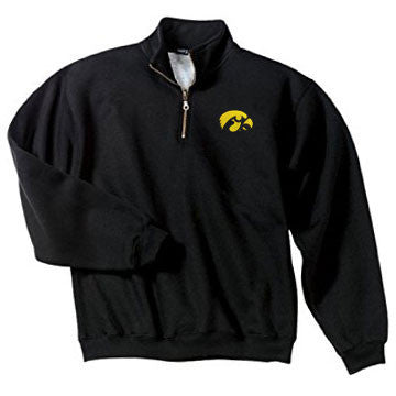 University of owa Hawkeye Logo Left Chest Embroidered Quarter Zip Sweatshirt - Black
