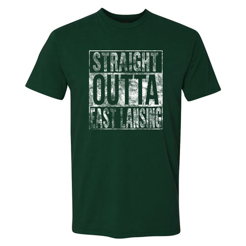 Straight Outta East Lansing Next Level Short Sleeve T Shirt - Forest