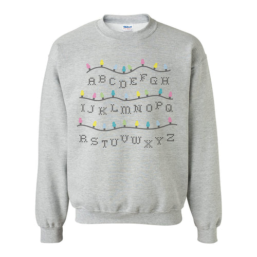 Stranger of Things Alphabet Lights Funny Holiday Ugly Sweater Crewneck Sweatshirt - Grey