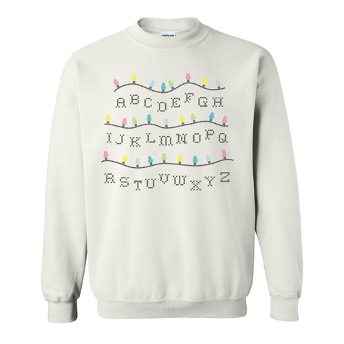 Stranger of Things Alphabet Lights Funny Holiday Ugly Sweater Crewneck Sweatshirt - White