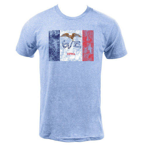 Iowa State Flag American Apparel Short Sleeve T Shirt - Athletic Blue