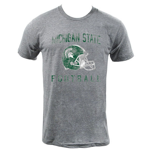 Faded Helmet Michigan State American Apparel Triblend Short Sleeve t Shirt - Athletic Grey