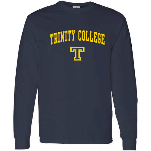 Arch Logo Trinity College Basic Cotton Long Sleeve T Shirt - Navy