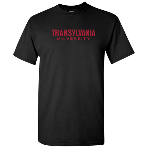 Transylvania University Pioneers Basic Block Short Sleeve T Shirt - Black