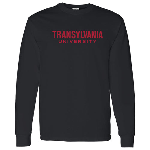 Transylvania University Pioneers Basic Block Long Sleeve T Shirt - Black