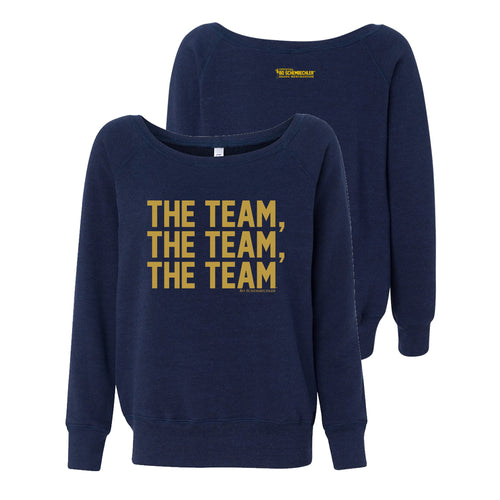 Bo Schembechler The Team The Team The Team Gold Foil Womens Sponge Fleece Sweatshirt - Navy Triblend