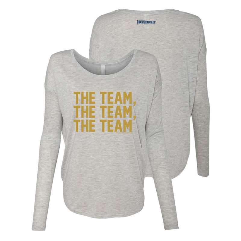 Bo TTT Gold Foil Womens Flowy LS - Athletic Heather