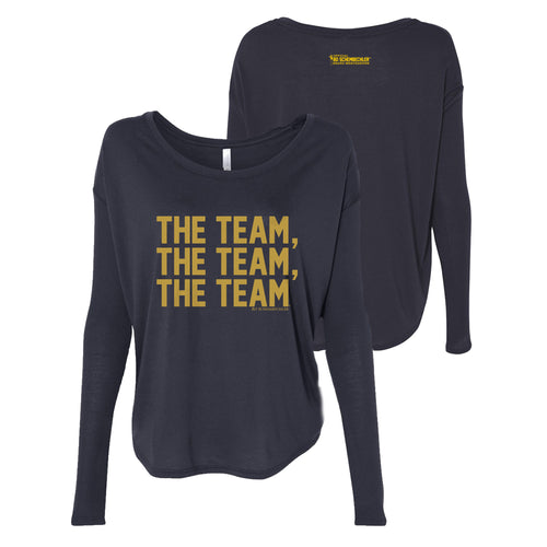 Bo Schembechler The Team The Team The Team Gold Foil Womens Flowy Long Sleeve - Navy Triblend