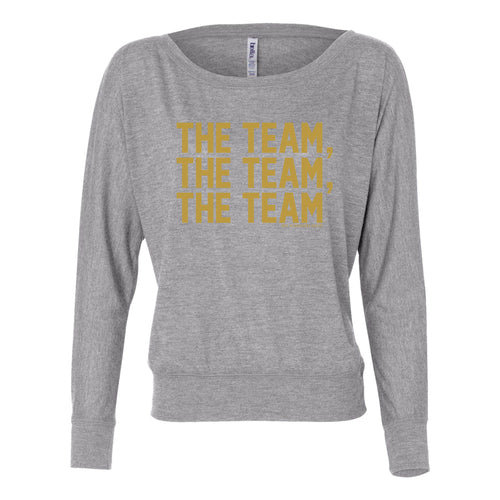 Bo Schembechler University of Michigan The Team The Team The Team Gold Foil Womens Flowy Long Sleeve Off Shoulder - Athletic Heather