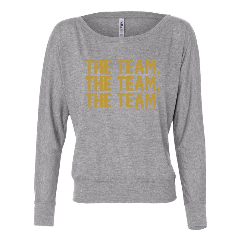 Bo TTT Gold Foil Womens Flowy LS Off Shoulder - Athletic Heather