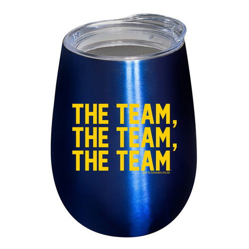 Bo Schembechler The Team The Team The Team University of Michigan Stemless Vacuum Wine Tumbler - Blue