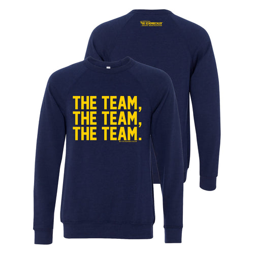 Bo Schembechler The Team The Team The Team Canvas Fleece Crew - Navy