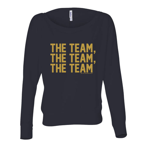 Bo Schembechler University of Michigan The Team The Team The Team Gold Foil Womens Flowy Long Sleeve Off Shoulder - Midnight