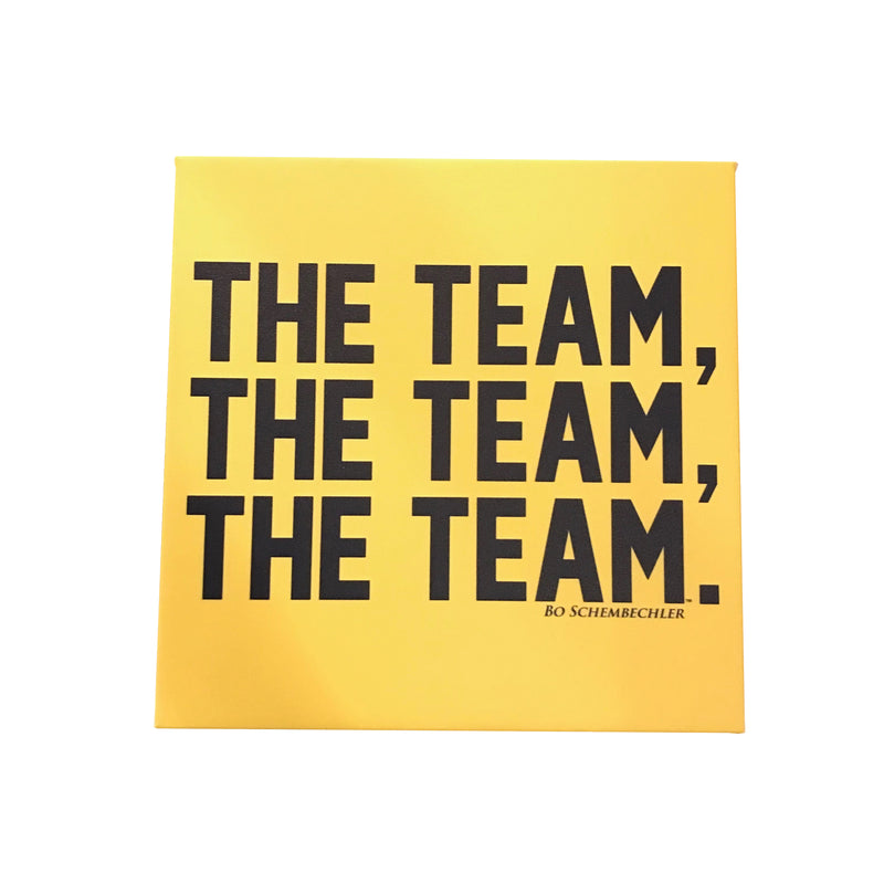 Bo Schembechler The Team The Team The Team Canvas Framed Wall Art - Maize