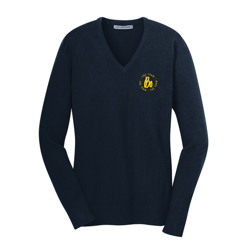 Bo Schembechler The Team The Team The Team Circle Embroidered Ladies Vneck Sweater - Navy
