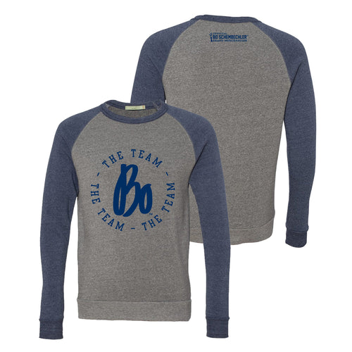 Bo Schembechler The Team The Team The Team Circle Colorblock Raglan Crew - Eco Grey/Navy