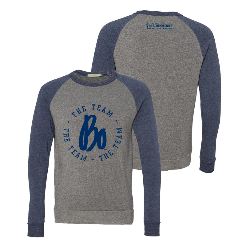 Bo TTT Circle Colorblock Raglan Crew - Eco Grey/Navy