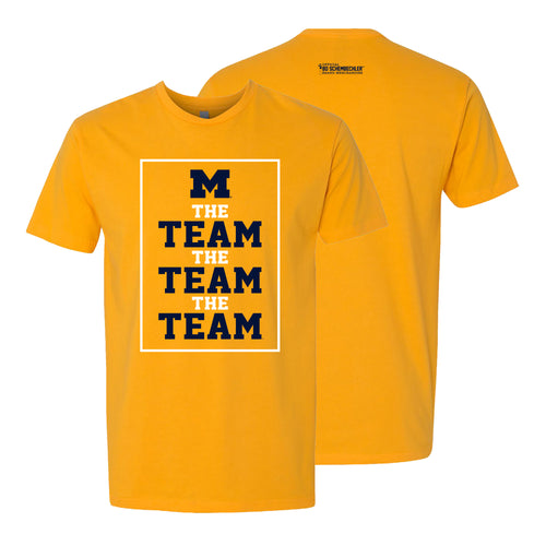 Bo Schembechler The Team The Team The Team University of Michigan Block M Banners Tee - Gold