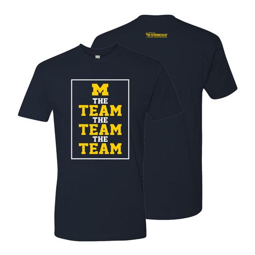 Bo Schembechler The Team The Team The Team University of Michigan Block M Banners Tee - Midnight Navy