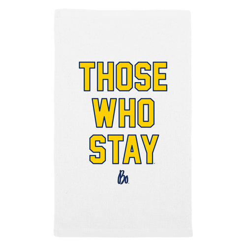 Bo Schembechler Those Who Stay Sport Rally Towel - White