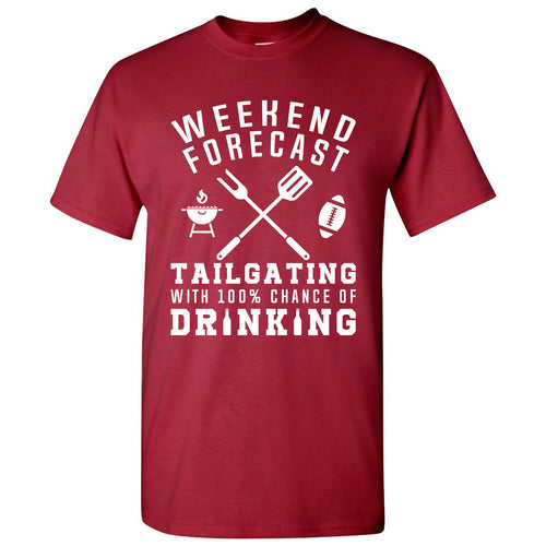 Weekend Forecast Tailgating With a Chance of Drinking: Funny Humor Football - Adult Cotton T Shirt - Cardinal