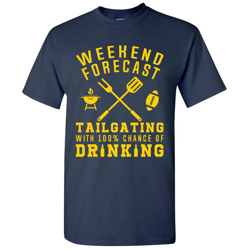 Weekend Forecast Tailgating With a Chance of Drinking: Funny Humor Football - Adult Cotton T Shirt - Navy