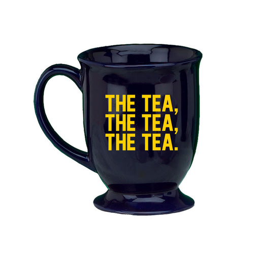Bo Schembechler Signature The Tea The Tea The Tea University of Michigan Hugo Footed Mug - Cobalt