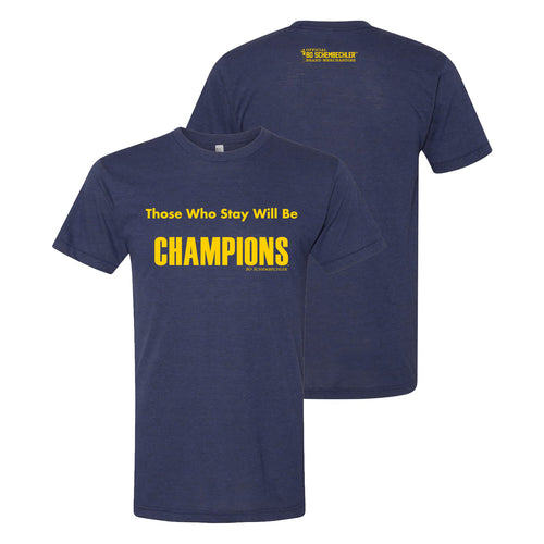 Bo Schembechler Those Who Stay T-Shirt - Tri-Indigo
