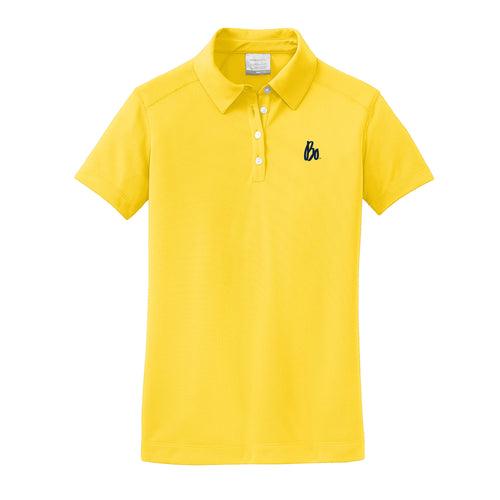 Bo Sig Nike Ladies Dri-FIT Pebble Texture Polo - Tour Yellow