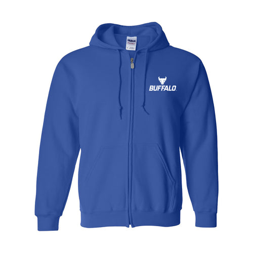 University at Buffalo Bulls Primary Logo Left Chest Full Zip Hoodie - Royal