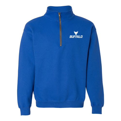 University at Buffalo Bulls Primary Logo Left Chest Quarter Zip Sweatshirt - Royal