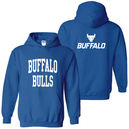 University at Buffalo Bulls Front Back Print Heavy Blend Hoodie - Royal