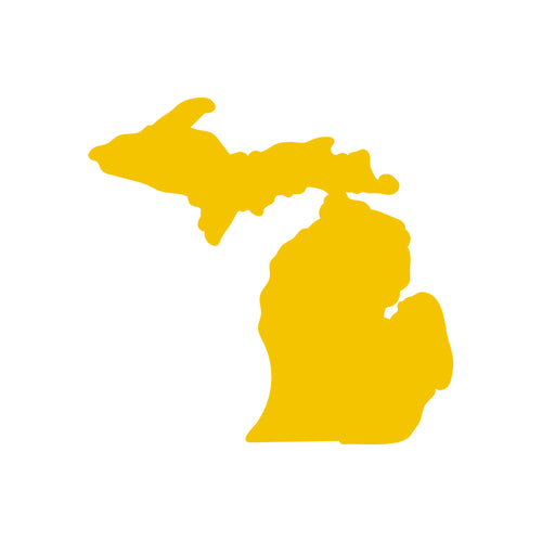 "Michigan Silhouette Vinyl Decal 3""w - Maize"