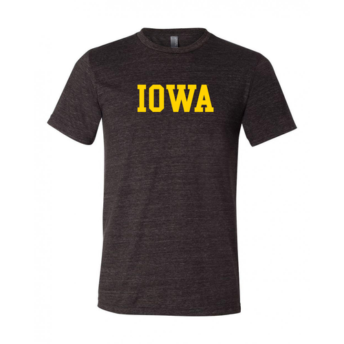 University of Iowa Hawkeyes Basic Block Canvas Triblend T Shirt - Charcoal Black
