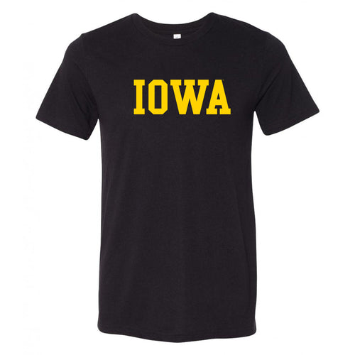University of Iowa Hawkeyes Basic Block Canvas Triblend T Shirt - Solid Black Triblend