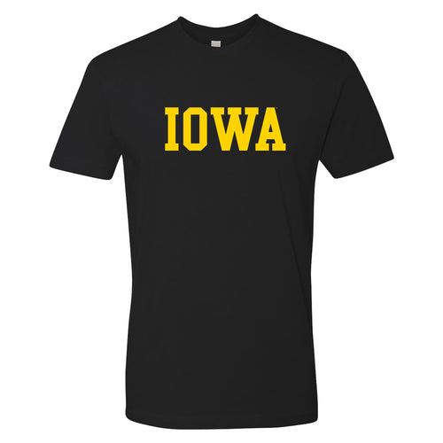 University of Iowa Hawkeyes Basic Block Next Level Premium Cotton Short Sleeve T Shirt - Black