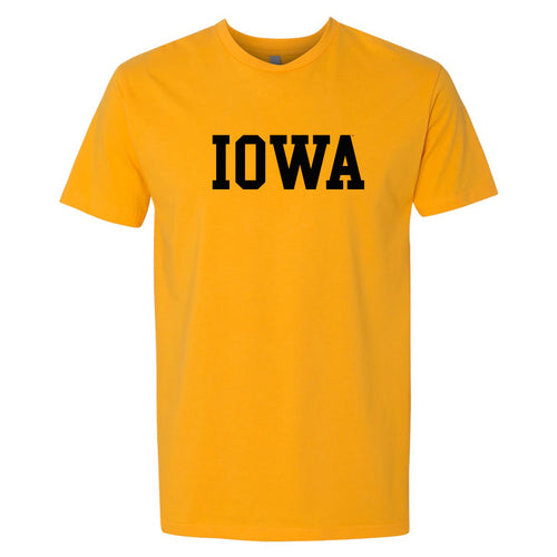 University of Iowa Hawkeyes Arch Logo Next Level Premium Cotton Short Sleeve T Shirt - Gold
