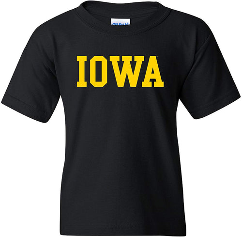 University of Iowa Hawkeyes Basic Block Youth Short Sleeve T Shirt - Black