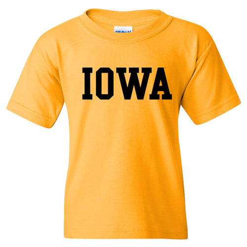 University of Iowa Hawkeyes Basic Block Youth Short Sleeve T Shirt - Gold