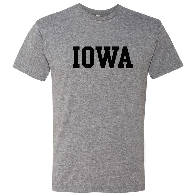University of Iowa Hawkeyes Basic Block Next Level Short Sleeve T Shirt - Premium Heather